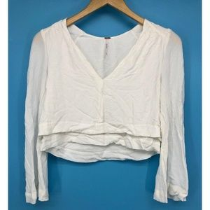 Free People Womens Top Cropped White Layered Hem
